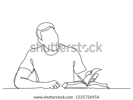 continuous line drawing of man studying reading book