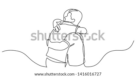 continuous line drawing of men friends hugging each other