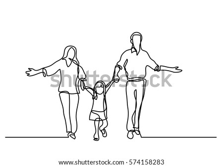 continuous line drawing of mother father and child