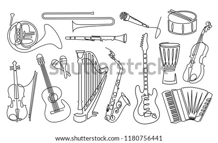 Continuous line drawing of Musical instruments linear icons set. Orchestra equipment. Stringed, wind, percussion instruments. Thin line contour symbols. Isolated vector outline illustrations.