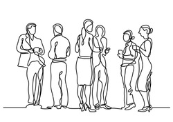 continuous line drawing of office party