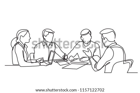 continuous line drawing of office workers at business meeting Сток-фото ©
