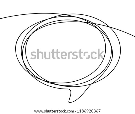 Continuous line drawing of oval speech bubble, Black and white vector minimalistic linear illustration made of one line