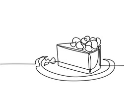 Continuous line drawing of piece cake. Vector illustration black line on white background.