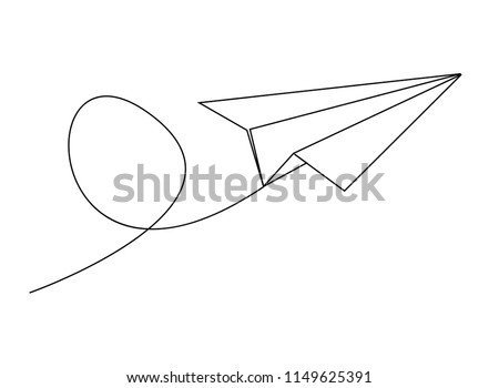 continuous line drawing of plane paper vector illustration