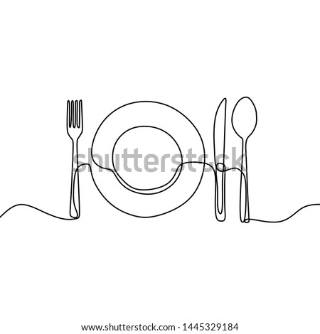 Continuous line drawing of plate, knife, and fork. Minimalism hand drawn one lineart minimalist vector illustration on white background. Dinner theme with creative symbol.