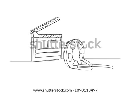Continuous line drawing of retro old classic movie board clapper and film reel. One single line art vintage film scene taker item concept design graphic vector illustration