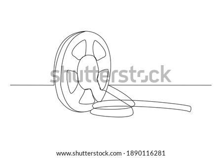 Continuous line drawing of retro old classic movie film reel. One single line art vintage film scene taker item concept design graphic vector illustration