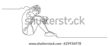 continuous line drawing of sad man hugs his knee on white background