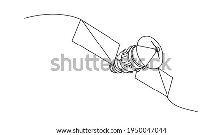 Continuous line drawing of satellite vector illustration. realistic satellite in orbit of the Earth, artificial satellite of telecommunications, satellite communications from Earth orbit. One line art