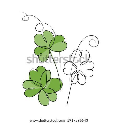 Continuous line drawing of shamrock leaves bouquet. Vector illustration of Irish symbol of St Patrick Day. Minimalism in design. Good for poster, banners and logotypes. Сток-фото ©
