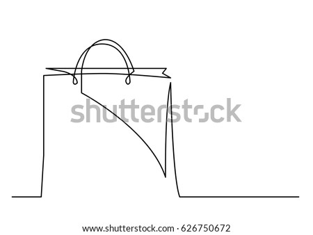 continuous line drawing of shopping bag