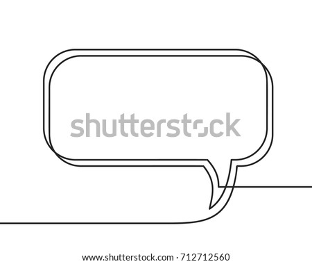Continuous line drawing of speech bubble, Black and white vector minimalistic linear illustration