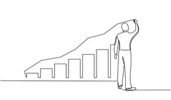 continuous line drawing of standing businessman drawing rising diagram. Design Illustration of the concept of business success through growth graph. Investor. Profit Stock Market. Business concept.