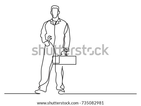 continuous line drawing of - standing mechanic
