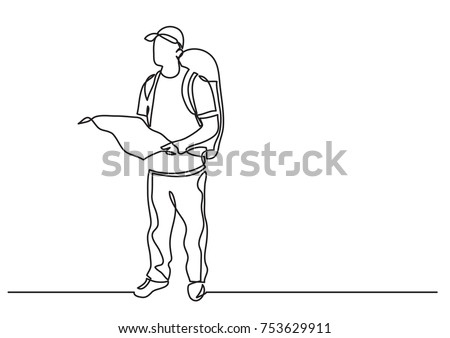 continuous line drawing of standing traveler with backpack holding map