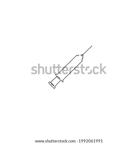 Continuous line drawing of syringe, objet one line, single line art, vector illustration Photo stock ©