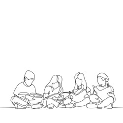 continuous line drawing of teenager reading book. Concept of young children read books one hand drawn vector illustration minimalism style.