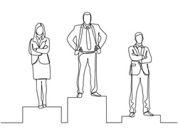Continuous line drawing of three business people on the podium and achieving success in business competition. Competition success, first place, celebration ceremony