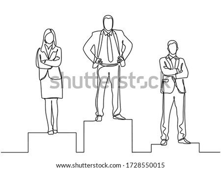 Continuous line drawing of three business people on the podium and achieving success in business competition. Competition success, first place, celebration ceremony Foto stock ©