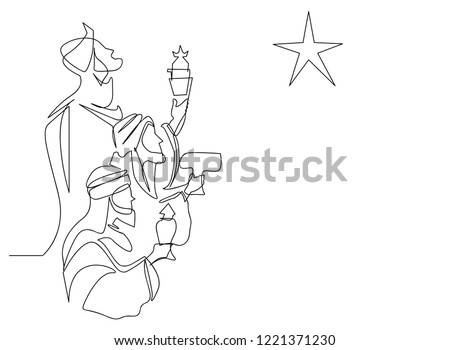 continuous line drawing of Three Kings Day