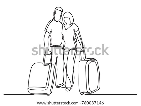 continuous line drawing of travelers couple standing with baggage