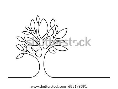 continuous line drawing of tree