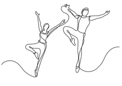 continuous line drawing of two ballet dancers