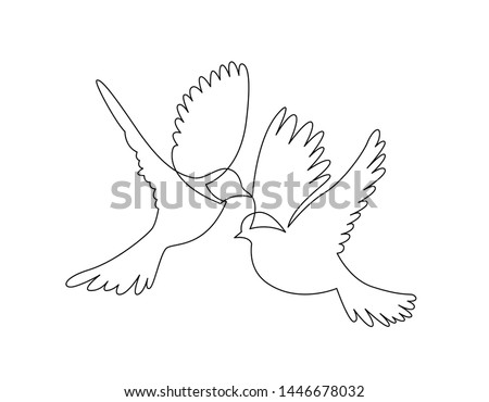 continuous line drawing of two flying sparrows