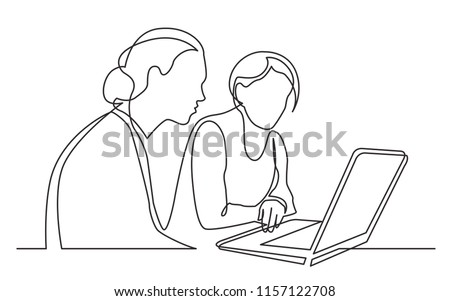 continuous line drawing of two women sitting and watching laptop computer