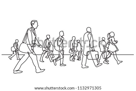 continuous line drawing of urban commuters walking on city street
