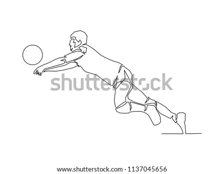 continuous line drawing of volleyball player vector illustration