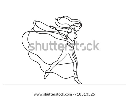 continuous line drawing of woman dancing in long dress
