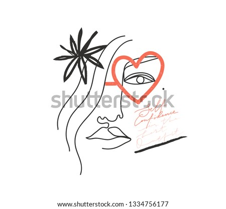 "Continuous line, drawing of woman face, fashion minimalist concept, vector illustration. Slogan for T-shirt and apparels tee graphic. ""Self confidence is the best outfit"" sign."