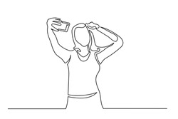 Continuous line drawing of woman making selfie photo. Drawing by hand of black lines on a white background. Close-up.