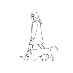 Continuous line drawing of woman wearing mask walking with pet. Vector illustration