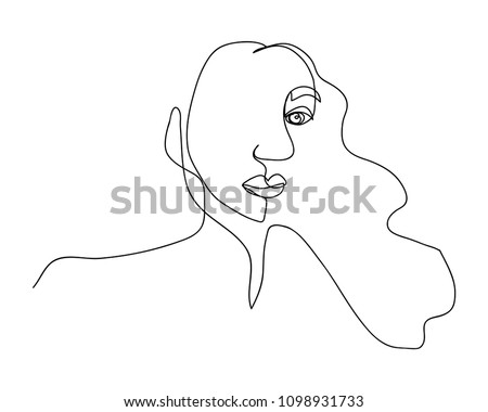 continuous line drawing of women vector illustration of beauty portrait. Fashion hairstyle with the ladies beauty. Vector illustrations Hand drawn
