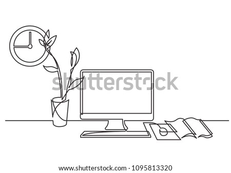 continuous line drawing of work desk with computer and flower