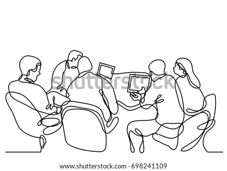 continuous line drawing of working group of team members