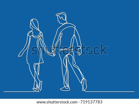 Stock Photo continuous line drawing of young couple walking together