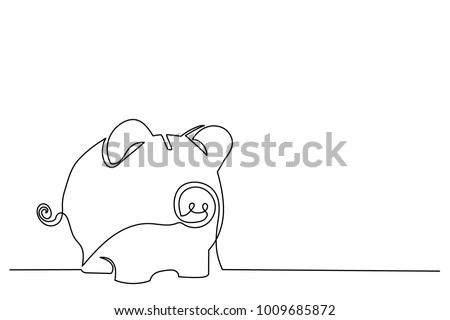Continuous line drawing. Piggy bank. Close-up. Drawing from the hands of a black thin line on a white background.