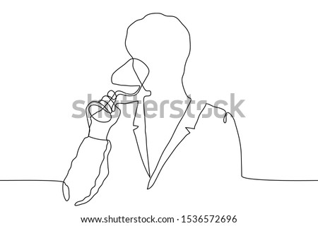 continuous line drawing silhouette of a man in a jacket languishingly drinking from a glass goblet. A man relishes a drink. The concept of sommelier, relaxation, tasting. It can be used for animation. Stock photo ©