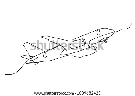 Continuous line drawing. The plane flies from left to right. Drawing from the hands of a black thin line on a white background.
