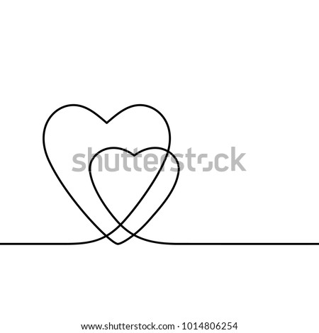 Continuous line drawing two hearts, Black and white vector minimalist illustration of love concept
