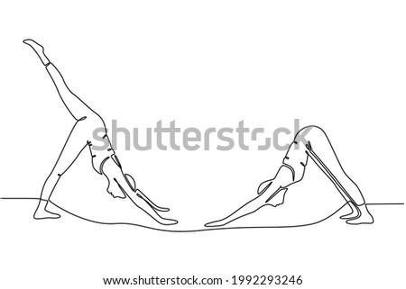 continuous line drawing yoga pose dog face down vector illustration Foto stock ©