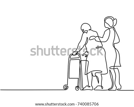 Continuous line drawing. Young woman help old woman using a walking frame. Vector illustration