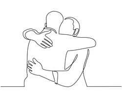 Continuous line drawings of cheerful friends embracing each other. Two young guys hugging each other. Feel happy friends meet with hugs isolated on white background. hugging. embracing. Vector