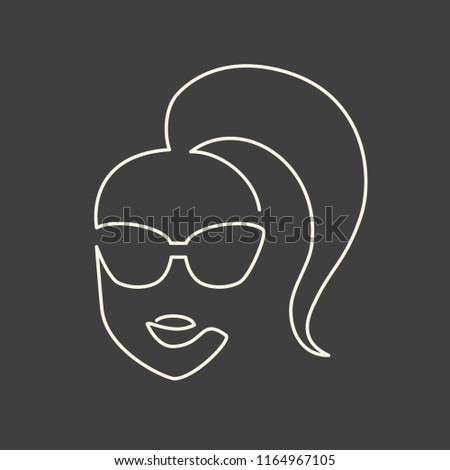 Continuous line face in sun glasses drawing, fashion eyewear illustration
