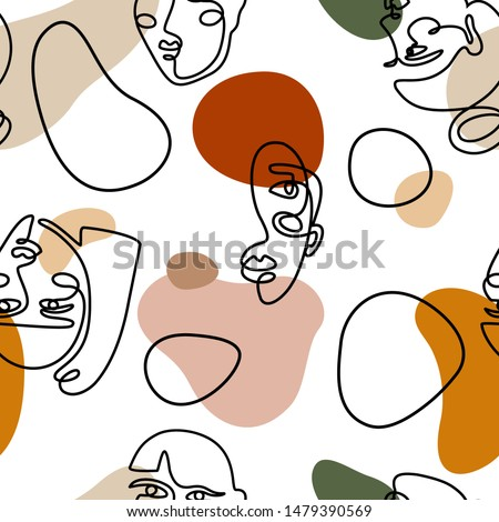 Continuous line face women seamless pattern - Modern abstract faces - Vector Endless pastel Background Fashion Female Portrait one line minimalist Style