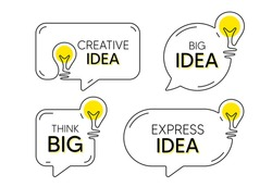 Continuous line idea speech bubble icon. Chat message with light bulb silhouette. Big and creative idea think balloon. Handdrawn electric light bulb silhouette. Chat bubble with express idea. Vector